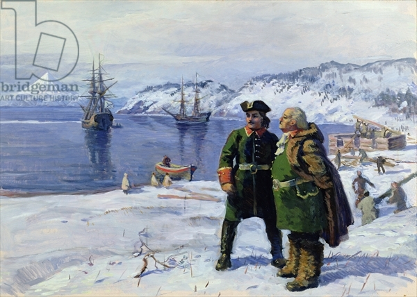 BAL351656 Vitus Bering and Alexei Chirikov in Petropavlovsk, 1989 (oil on cardboard) by Pshenichny, Igor Pavlovich (b.1938); State Central Navy Museum, St. Petersburg; (add.info.: Vitus Bering (1681-1741) was a Danish navigator in the service of the Russian Navy; Aleksei Ilyich Chirikov (1703-48) was a Russian navigator and deputy to Vitus Bering during the Great Northern Expedition; Second Kamchatka Expedition;); Russian, in copyright PLEASE NOTE: This image is protected by the artist's copyright which needs to be cleared by you. If you require assistance in clearing permission we will be pleased to help you.