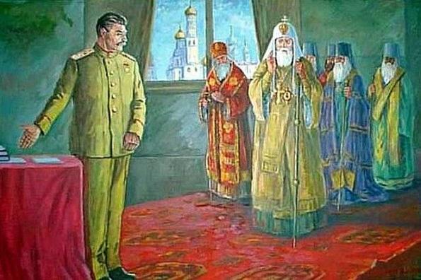 Современная картина. изображающая встречу Сталина с иерархами Церкви